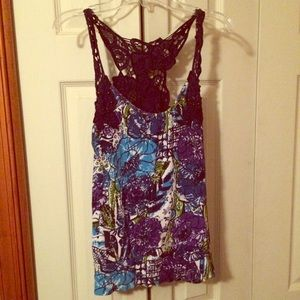 Floral and lace knit tank